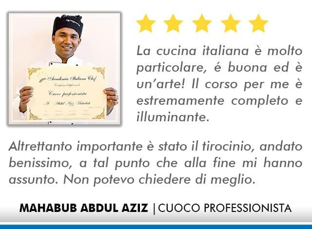 Opinioni Corso Cuoco a Roma - Abdul